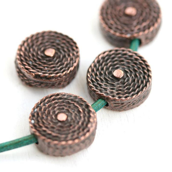 2pc Antique Copper woven beads, 15mm Coin shape 2mm hole