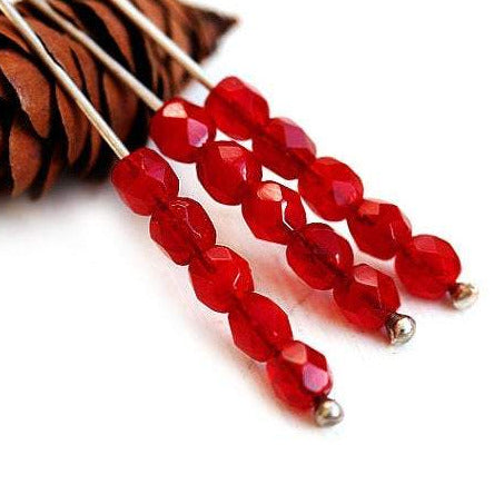 4mm Opal Red czech glass beads, fire polished, faceted - 50Pc