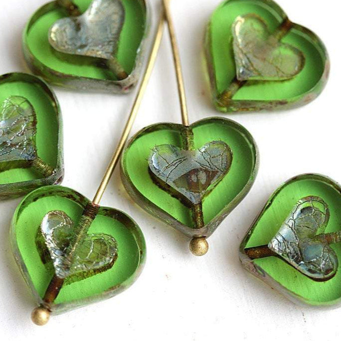 14mm Transparent Green Heart glass beads Picasso finish - 6Pc