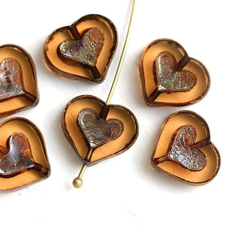 14mm Smokey Topaz Heart beads, Picasso finish czech glass - 6Pc