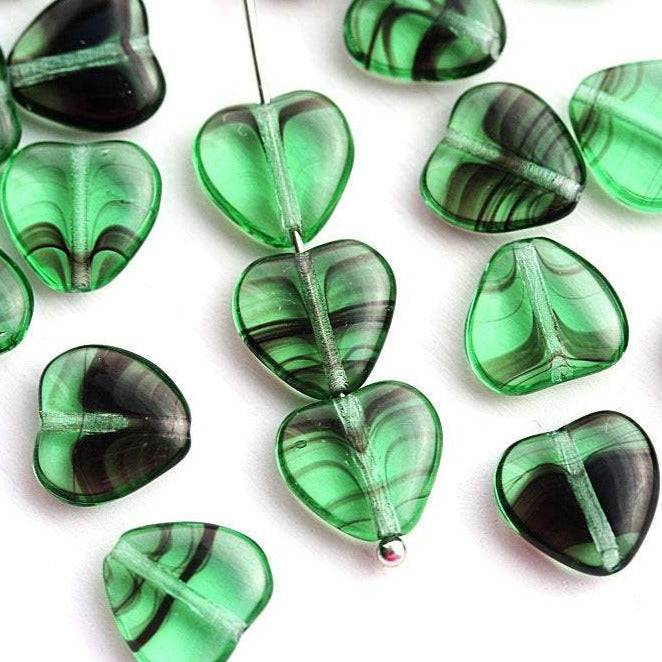 10mm Striped Green Heart czech glass pressed beads - 20Pc