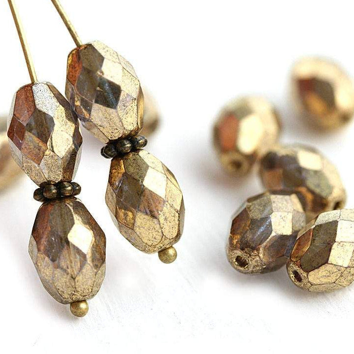 11x7mm Golden olive shaped czech glass beads, fire polished oval beads - 6Pc
