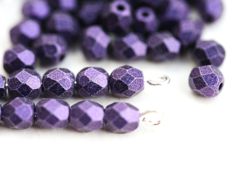 4mm Violet Purple glass beads, Metallic Suede czech Fire polished spacers - 50Pc