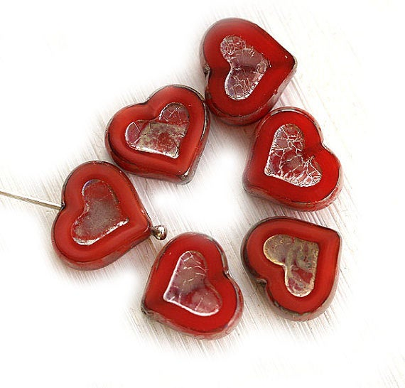 14mm Red Heart Czech glass beads, Picasso finish - 6Pc