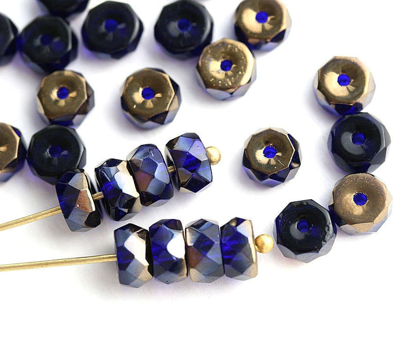 6x3mm Dark Blue Rondelle beads, Bronze luster fire polished - 25Pc