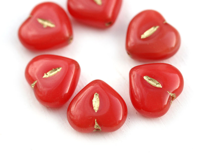 14mm Red puffy Heart glass pressed beads, Golden Inlays - 6pc