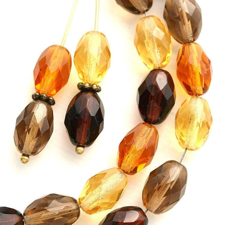 11x8mm Oval beads mix in Topaz, Amber Yellow, Brown, czech glass fire polished beads - 20Pc
