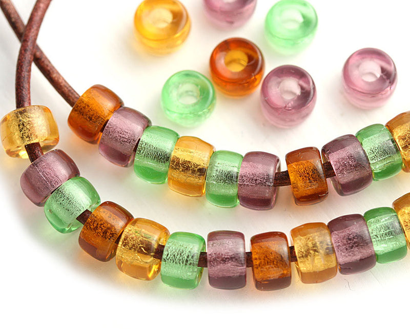 6mm Pony beads mix in Woodland colors Czech glass Roller beads, 2mm hole - 50pc