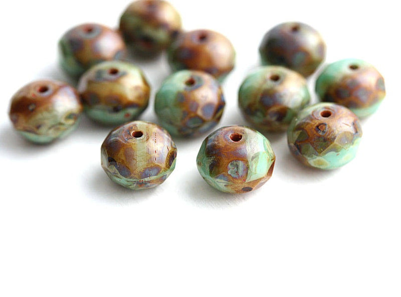 6x8mm Turquoise green and Brown czech glass rondelle beads - 12Pc
