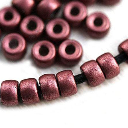6mm Pony beads Pink Copper Metallic Czech glass Roller beads, 2mm large hole, 50pc