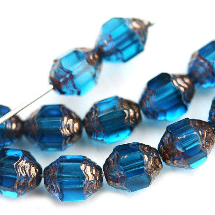 8x6mm Cathedral barrel Indicolite Blue Czech Glass beads, copper ends, fire polished - 15Pc