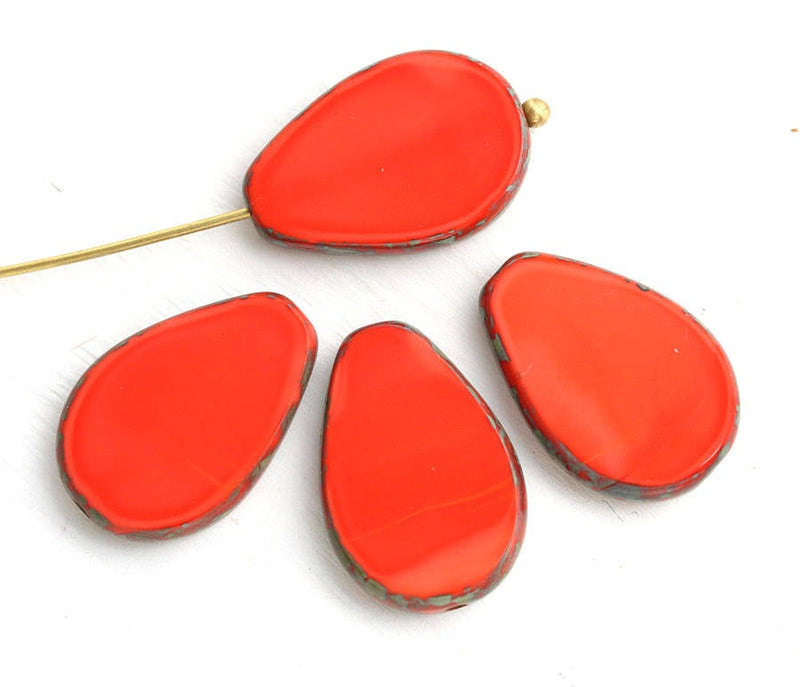 18x12mm Light Opaque Red oval flat teardrop czech beads - 4pc