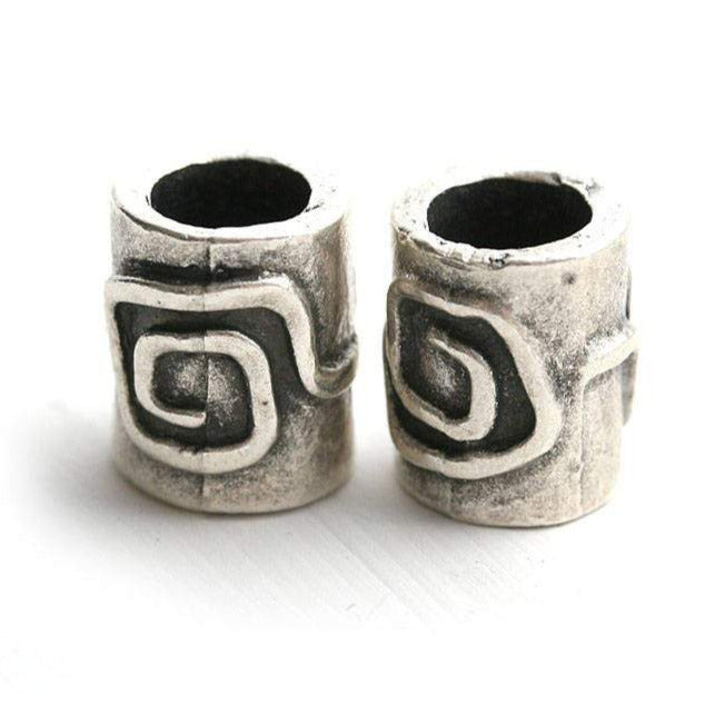 2pc Antique Silver Spiral tube beads, 7mm hole