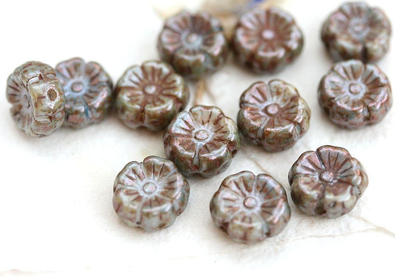 8mm Picasso Flower beads, Rustic Grey Green, Mother of pearl shine 12pc