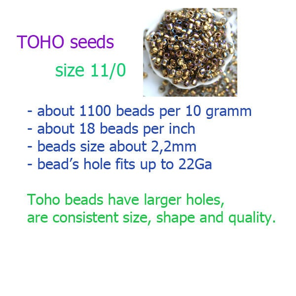 11/0 Toho Seed beads, Inside color Peridot Emerald Lined, N 249 - 10g