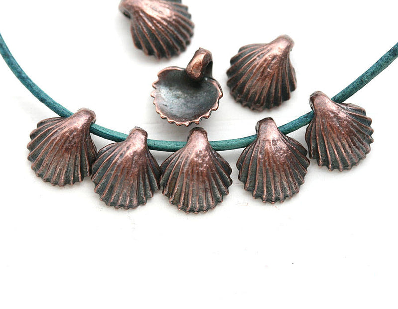 8pc Antique Copper Small shell charms 9mm