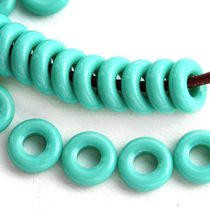 8mm Turquoise Green rings, Czech beads, for leather cord - 30Pc