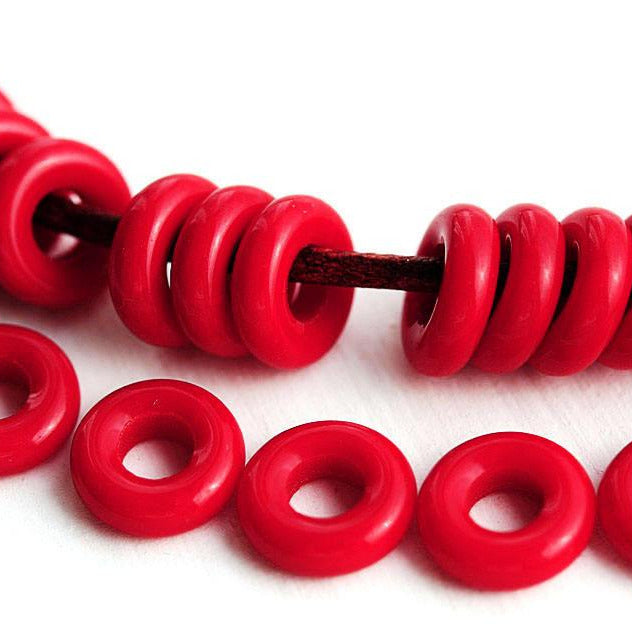 8mm Dark Red rings, Czech glass beads, for leather cord - 30Pc