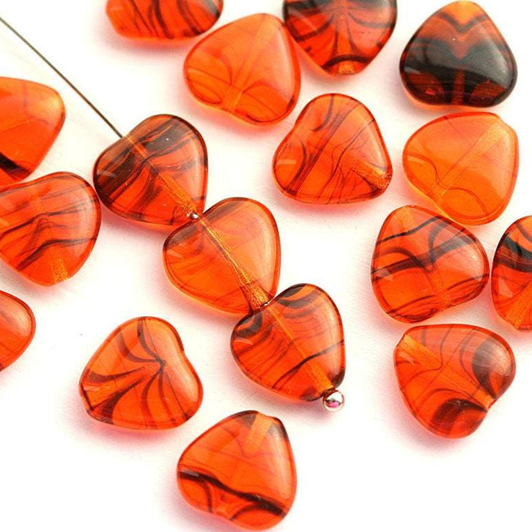 10mm Orange Black Heart czech glass pressed beads - 20Pc