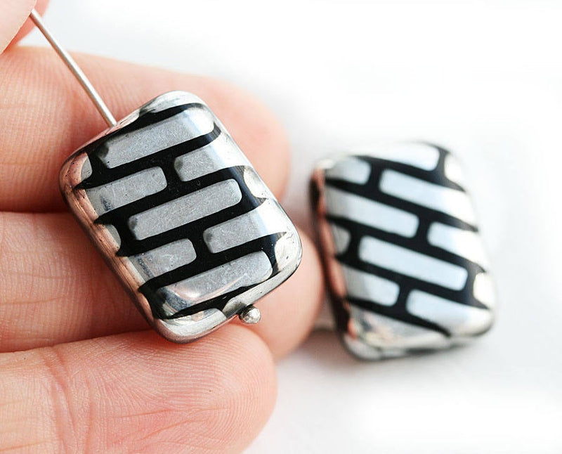 20x15mm Puffy rectangle large beads pair, Black and Silver Lines pattern 2pc
