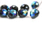 12mm Round Black beads AB finish Czech Glass - 4Pc