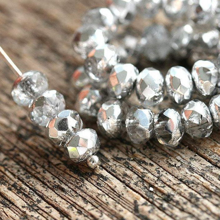 3x5mm Silver coated czech glass beads, silver and crystal spacers - 40Pc