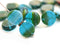 10mm Green Blue Coin shaped czech glass beads, round tablet shape beads 25Pc