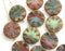 18mm Round flat beads mix in Earthy colors, Coin shape czech glass Picasso beads - 6Pc