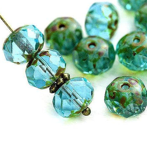 6x8mm Blue Green czech glass donut Picasso beads - 24pc