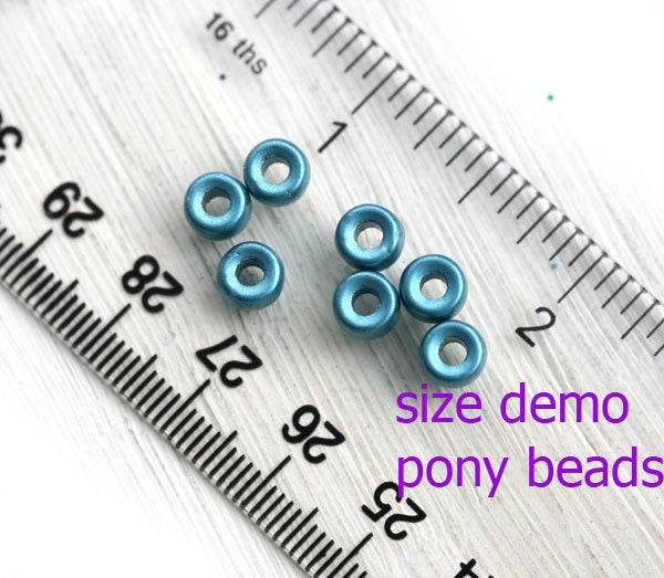 6mm Pony beads mix in Blue, Turquoise, White Czech glass Roller beads, 2mm hole - 50pc