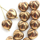 10mm Puffy Golden Heart glass beads, Gold luster over Blue - 10Pc