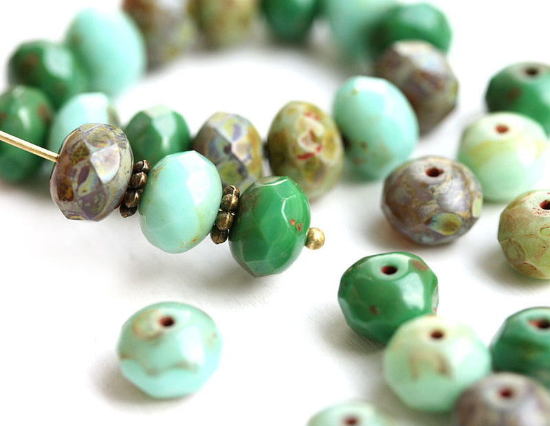 6x8mm Turquoise Green rustic czech glass beads MIX - 15Pc
