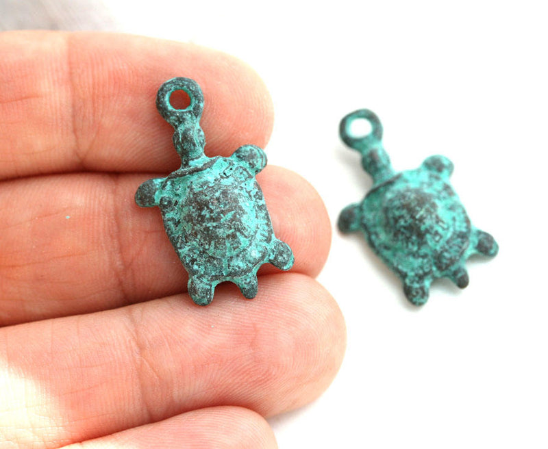 2pc Turtle charms, Green patina 25mm