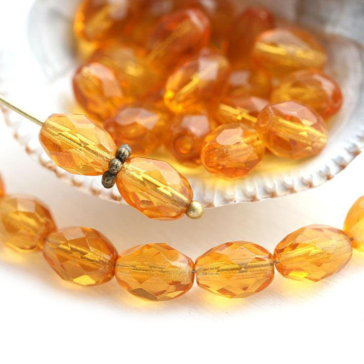 8x6mm Amber Topaz oval czech glass fire polished barrel beads - 30Pc