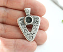 Antique Silver Triangle pendant Ancient Symbols cabochon base