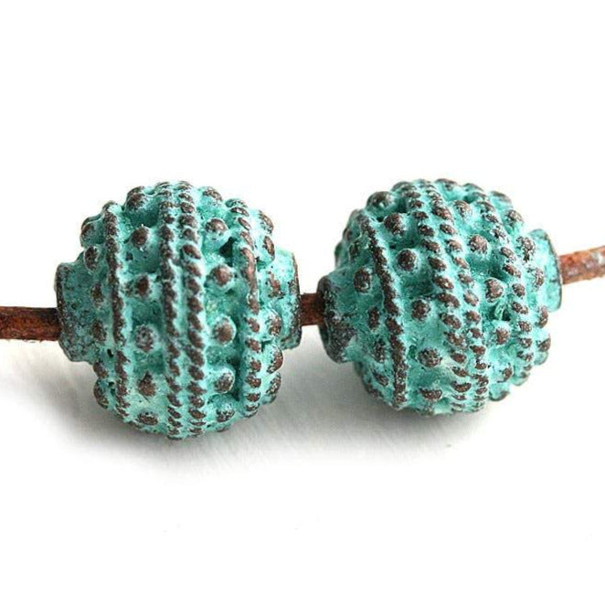 12mm Round Patina beads Green patina Copper 2Pc