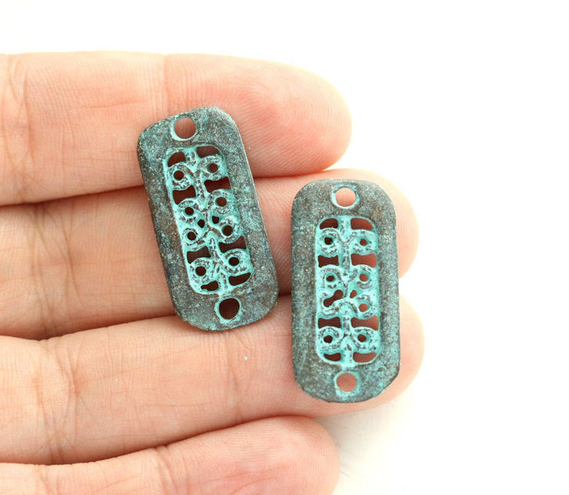 2pc Rectangle Ornament Two hole connectors Green patina