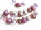 20pc Purple Pink teardrops beads mix, Silver Czech Glass beads - 6x9mm