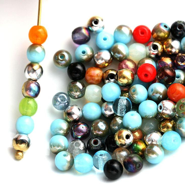 4mm Multicolor Czech glass round druk beads mix - approx.80pc
