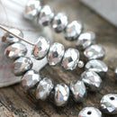 4x7mm Silver rondelle czech glass beads, rondels, gemstone cut - 25pc