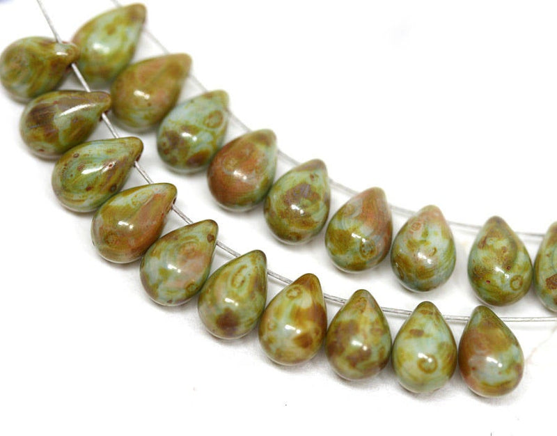 20pc Picasso Green teardrop beads, Rustic czech glass drops - 6x9mm