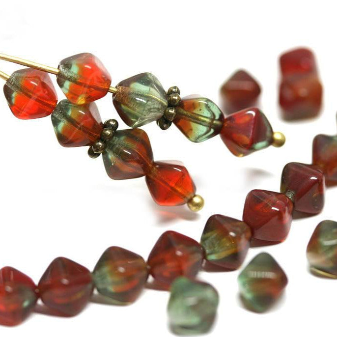 6mm Green Red bicone Czech glass beads, mixed color - 30Pc