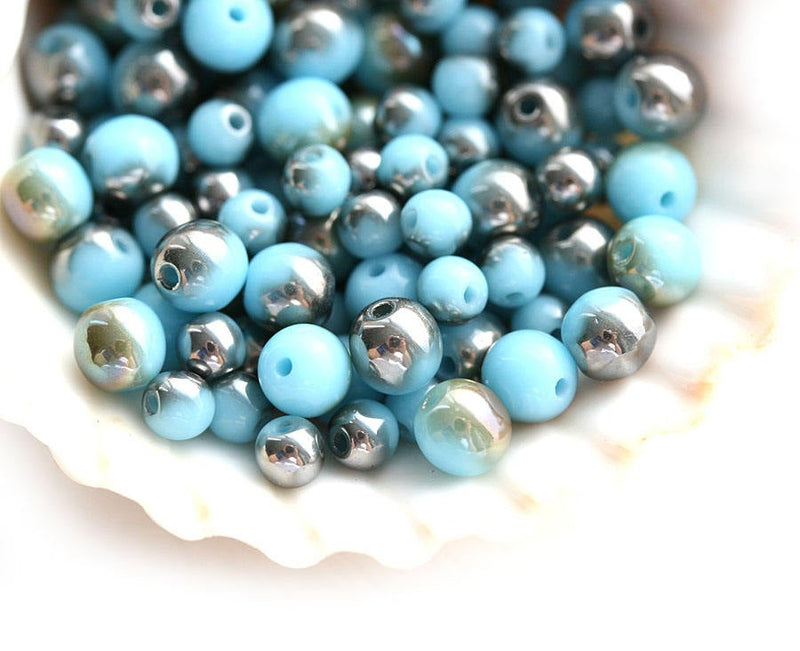 3mm 4mm Turquoise blue beads mix, Metallic Brown luster - approx.120Pc