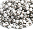 3mm White czech glass beads Dark Metallic Grey luster - 8g