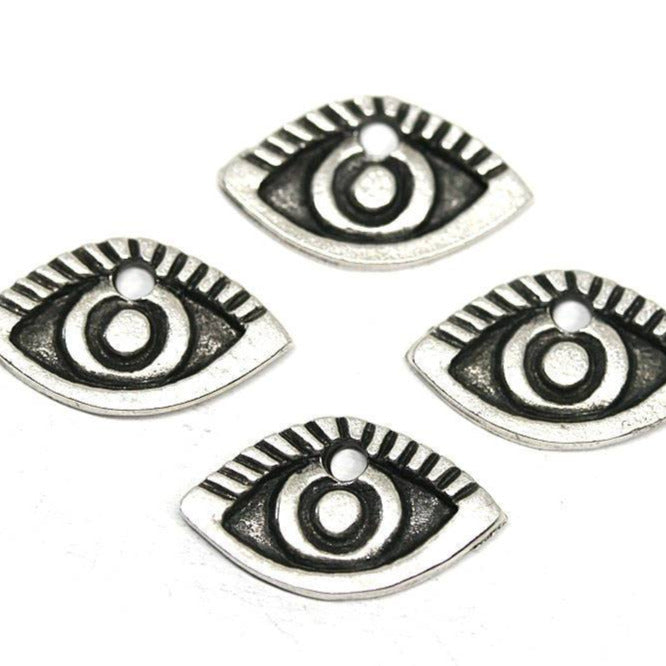 4pc Antique silver Evil Eye charms