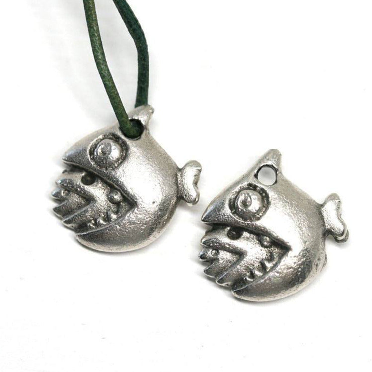 2pc Fish eat fish charms Antique Silver