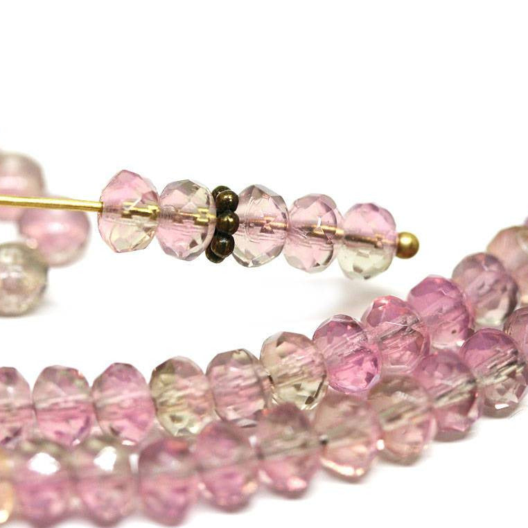 3x5mm Pink glass rondelle beads Pink Gray Czech beads - 3x5mm