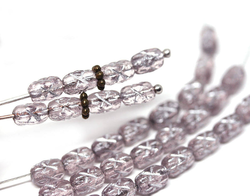 6x4mm Light Purple czech glass rice beads, Silver stars ornament small oval beads, 50pc