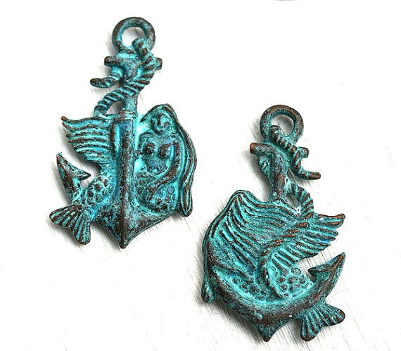 Green Patina Mermaid on Anchor pendant