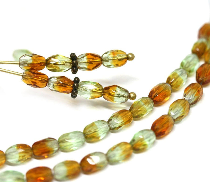 6x4mm Rice czech glass beads, Brown Topaz Green mixed color oval fire polished small beads - 50Pc